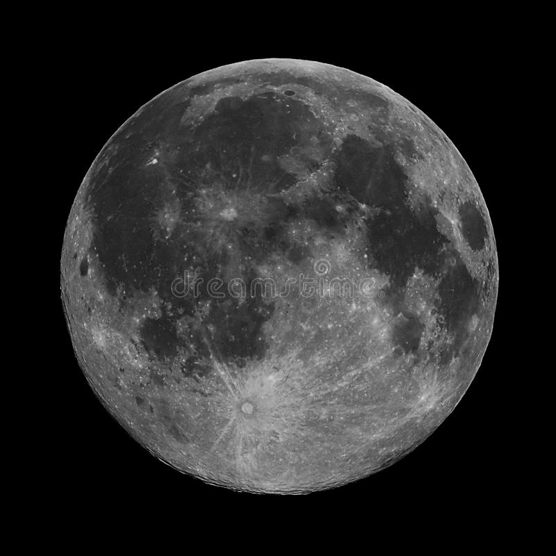 Full moon on the night sky observing stock photo