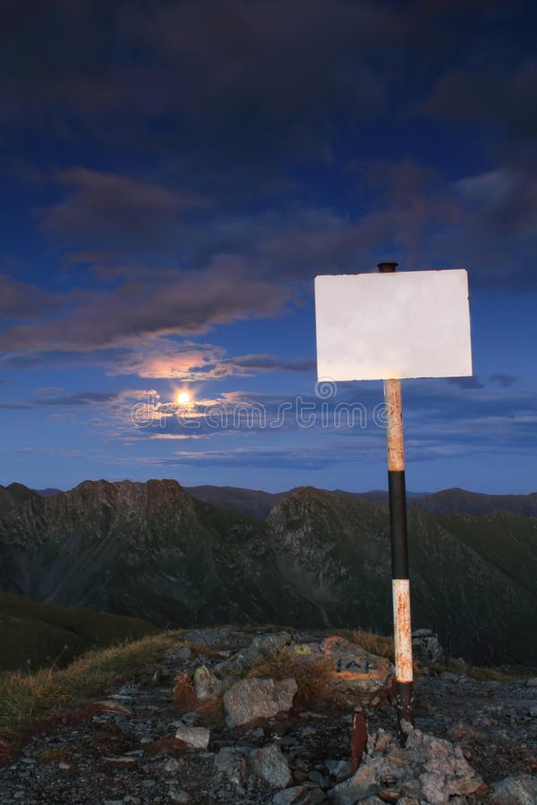 Full moon and blank sign stock photos