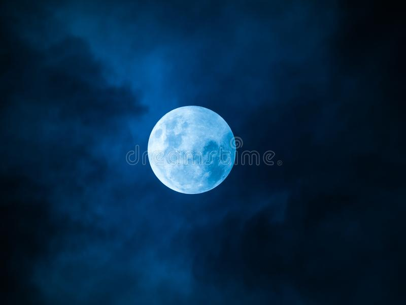 Full Moon Blue Night. The Full Moon with Cloud in The Blue Night stock images