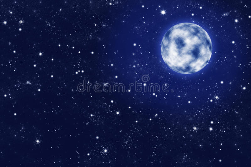 Full moon on blue starry night sky royalty free illustration