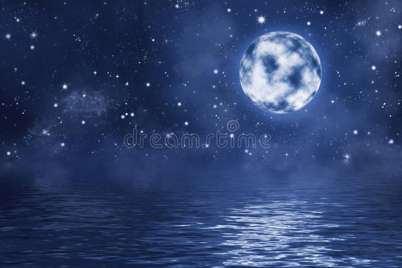 Full moon with bright shining stars and nebula over water with waves vector illustration