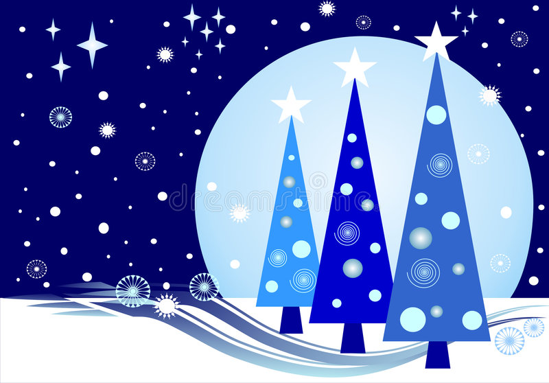 Full moon Christmas. This illustration in blue and white shows three Xmas trees in front of a bright full moon. Around are lots of snowflakes and little stars stock illustration