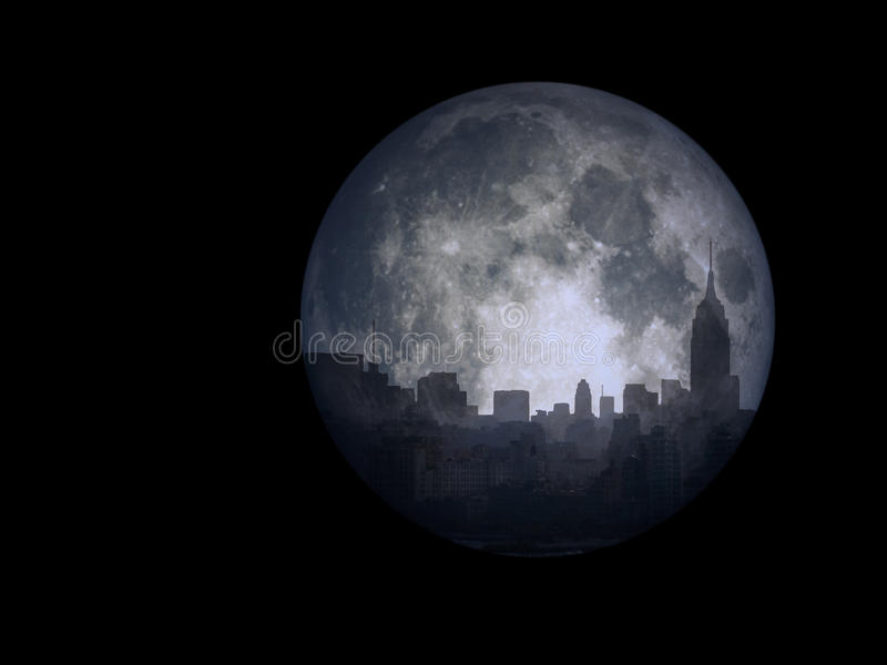 Full moon city. NYC silhouetted by the moon royalty free illustration