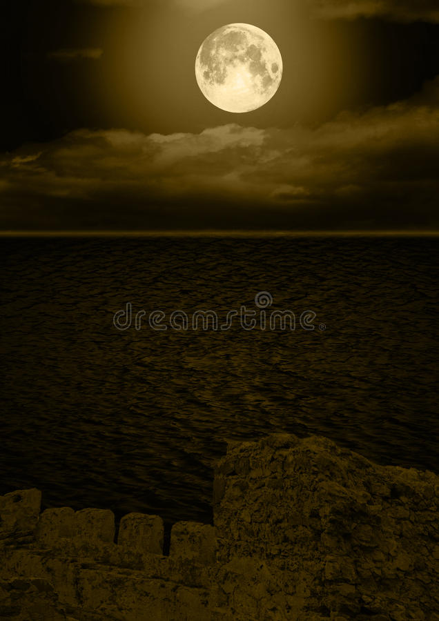 Download Full moon in clouds stock illustration. Image of month - 26837781