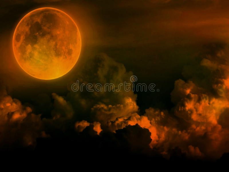 Full moon with clouds on dark background. Graphic design style. Illustration, big, halloween, group, creative, concept, spooky, light, neon, bright, orange stock photography