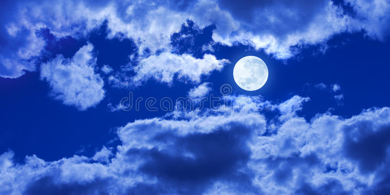 Full Moon Night Clouds Sky Banner Background. A full moon glowing in a night sky with clouds and panorama width stock image