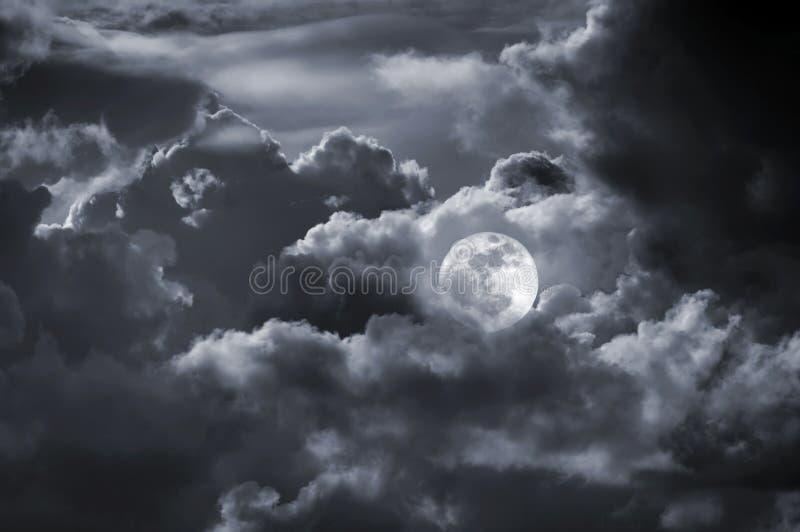 Full moon cloudy sky royalty free illustration