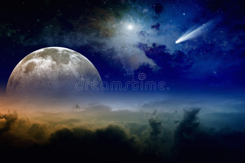 Full moon and comet stock photos