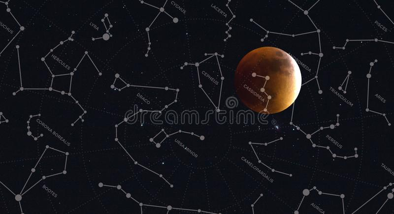 Full moon and constellations of the northern hemisphere royalty free stock photo