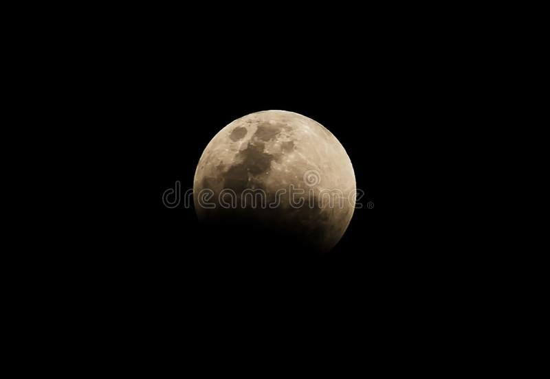 The full moon in the dark night start Lunar Eclipse and the Blood Moon stock images
