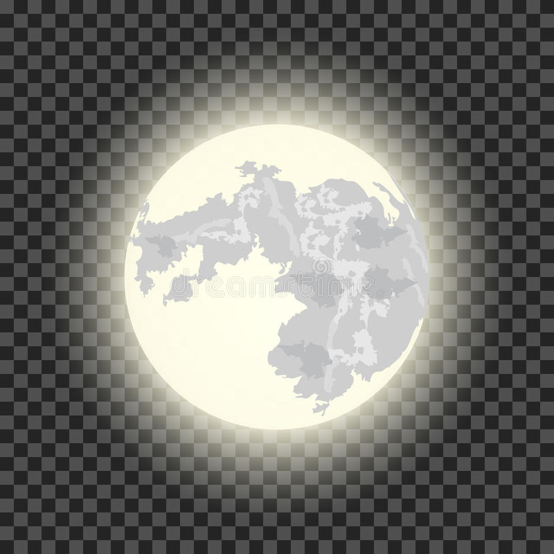 Full moon on the dark transparent background royalty free illustration
