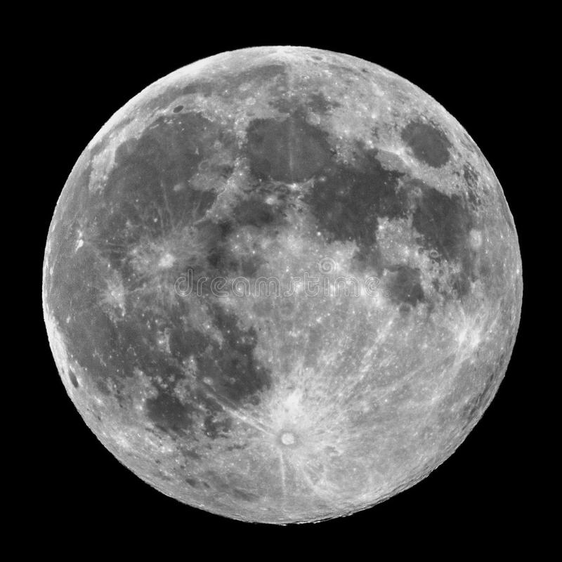 Full Moon details and craters observing stock photography
