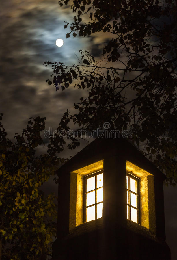 Full moon, dramatic night sky, lantern stock photos