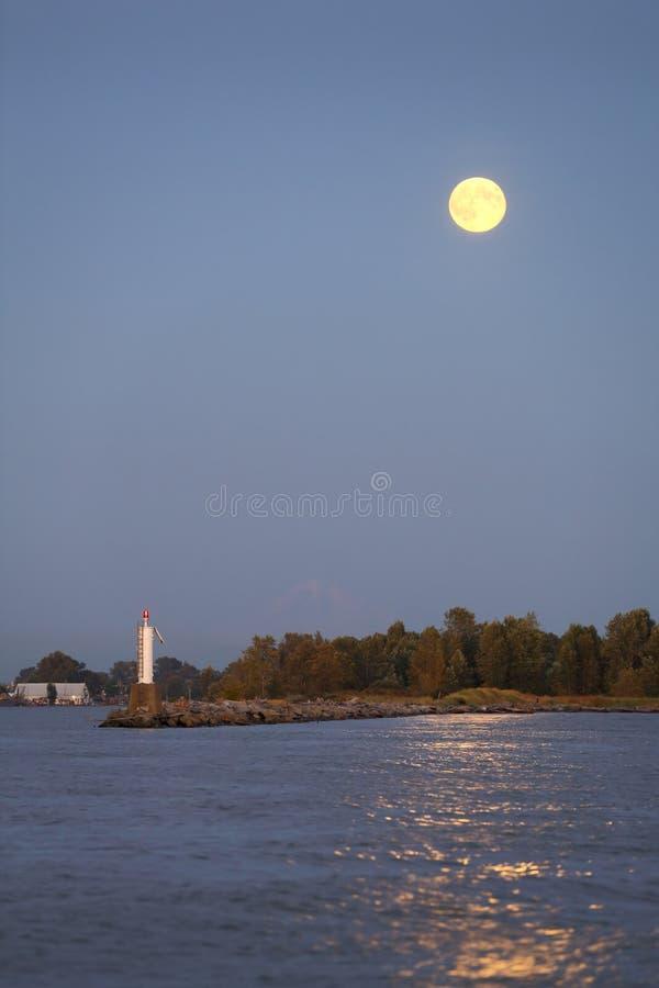 Full Moon Dusk, Steveston Harbor royalty free stock photo