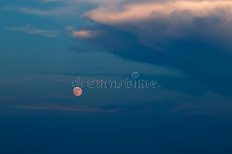Full moon and the evening sky royalty free stock photography