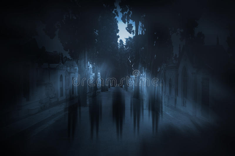 Full moon ghosts royalty free stock images