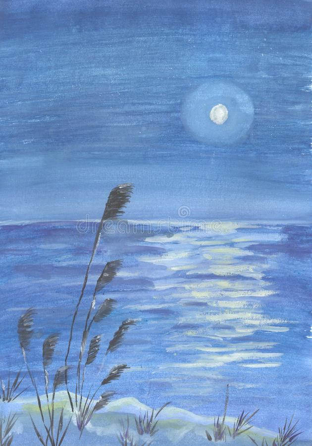 Free Full Moon In The Nigth. Water Reflection. Hand-drawn On Paper Real Watercolor Illustration Royalty Free Stock Images - 156396359