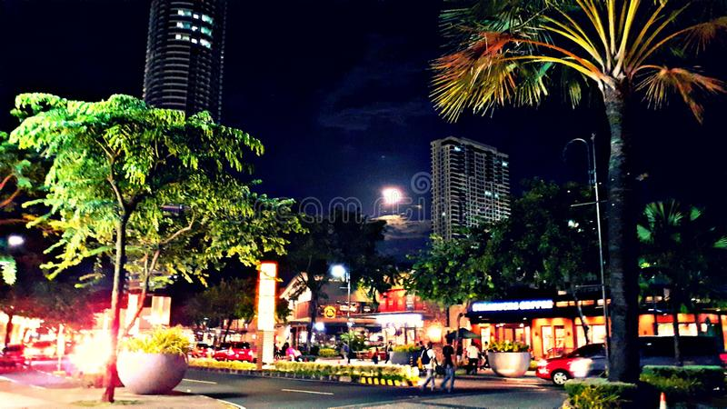 Full moon spotted at Capitol commons, Pasig, Philippines. 101519. Full moon spotted at Capitol commons, Pasig, Philippines. Image, inner, its, night, trees stock images