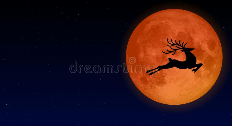 Buck moon or full moon in July of every year illustration design royalty free illustration
