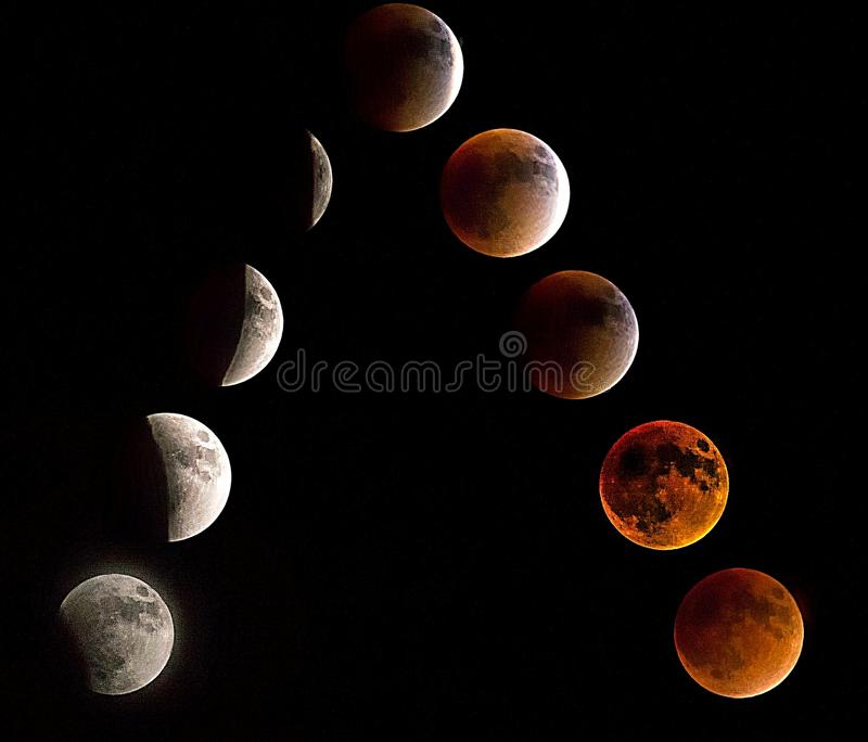 A full moon lunar eclipse is rarely seen on a regular basis stock photography