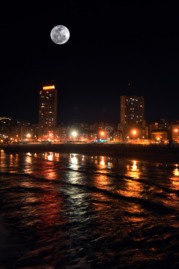 Full Moon in Mar del Plata, Argentina. Night view of Mar del Plata city in Buenos Aires, Argentina royalty free stock photography