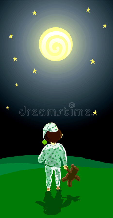 Full moon night stock illustration