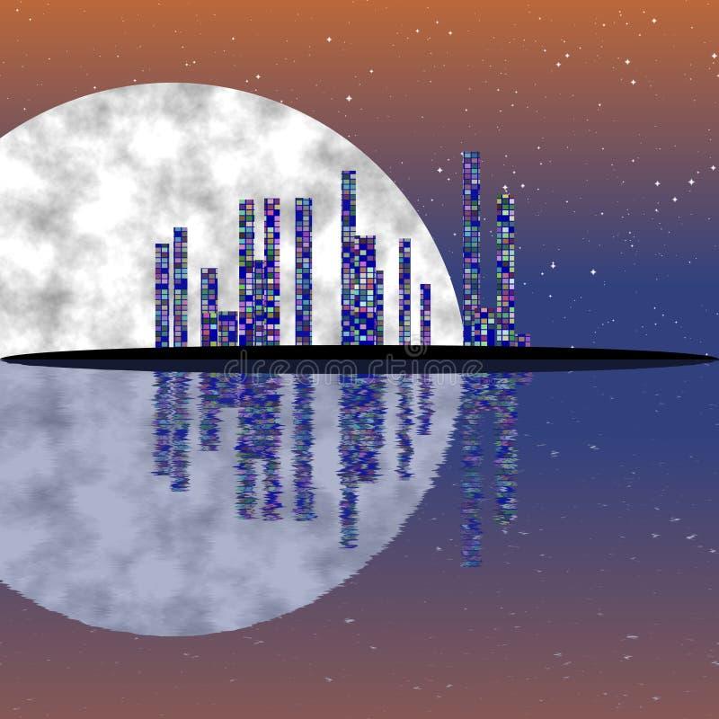 Full moon night, cityscape illustration with lighting buildings on island. Dark skyscrapers royalty free illustration