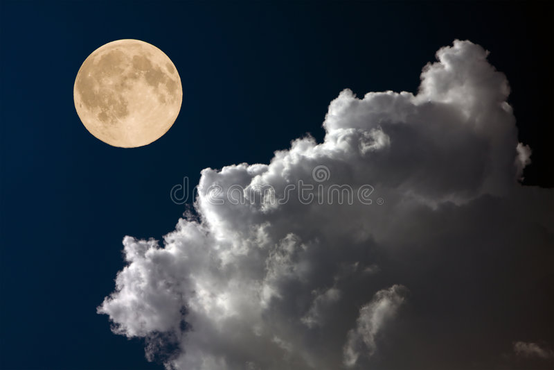 Download Full moon on night sky stock photo. Image of romantic - 6951090
