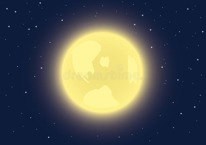 Full moon in the night sky. Background with full moon in the night sky vector illustration
