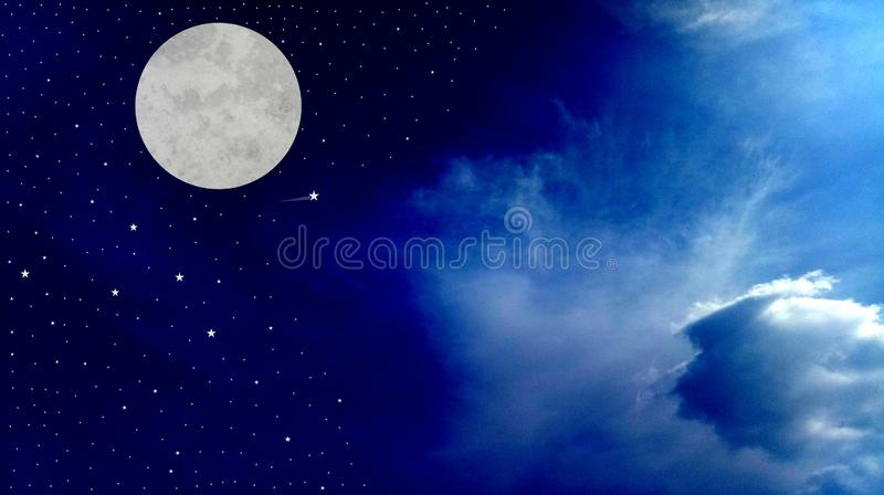 Full Moon Night Sky with clouds beautiful shinning stars beautiful view vector illustration. Many uses for advertising, book page, paintings, printing, mobile stock illustration