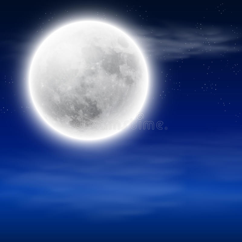 Full moon in the night sky with clouds. EPS10 vector vector illustration