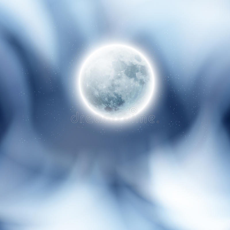 Full moon in the night sky with clouds. EPS10 vector royalty free illustration