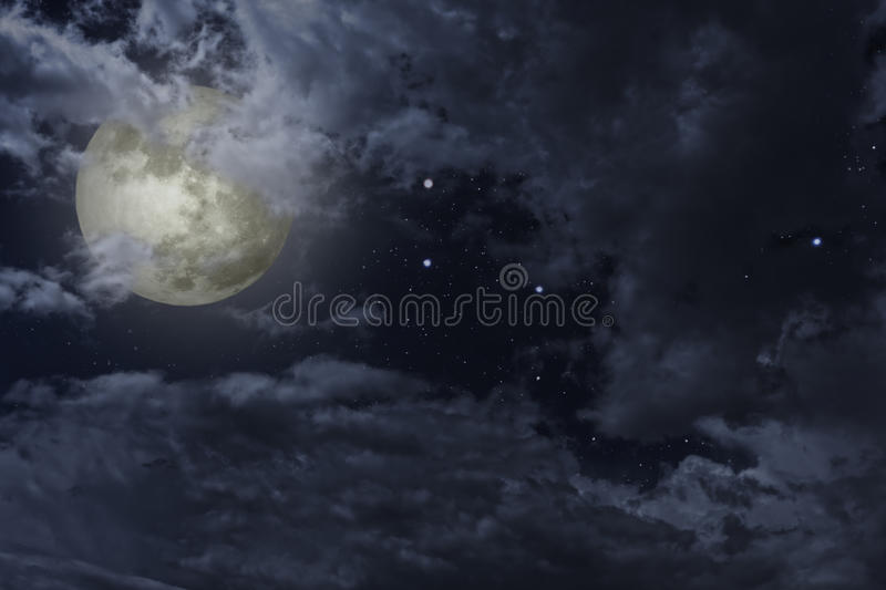 Full moon night. Sky with clouds and stars stock illustration