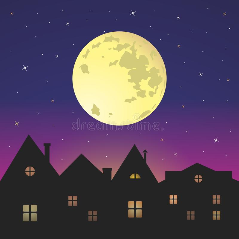 Full moon night sky. Full moon background with clouds. Bright night sky.Moon in the sky stock illustration
