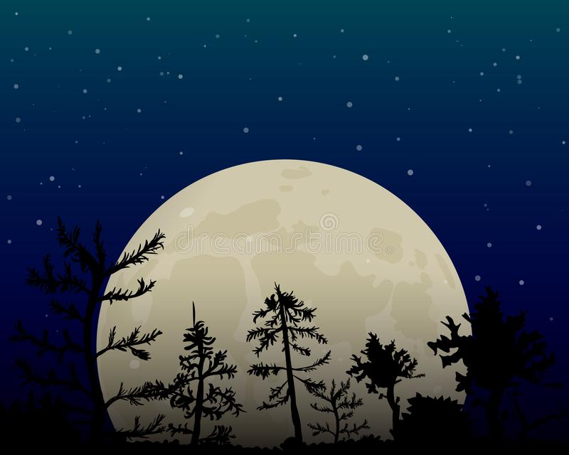 Full moon in the night sky. Dark forest. The glow from the stars. Vector illustration royalty free illustration