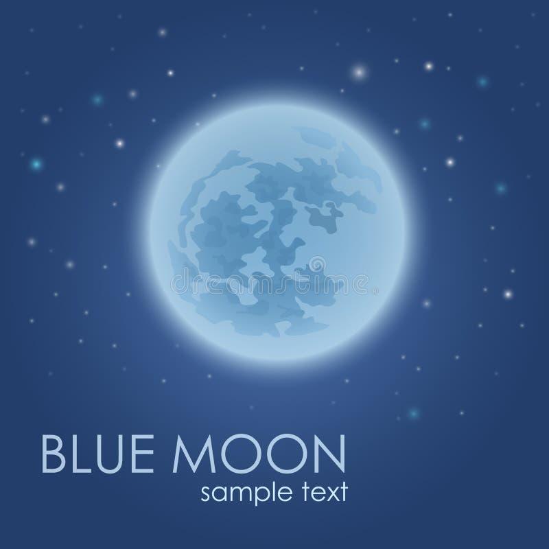 Full moon in the night sky little stars around. Full moon in the night sky. Little stars around on a blue background. Stock vector illustration stock illustration