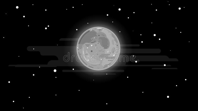 Full moon in night sky. One grey full moon in night sky with stars, simplify night background in flat stylization stock illustration