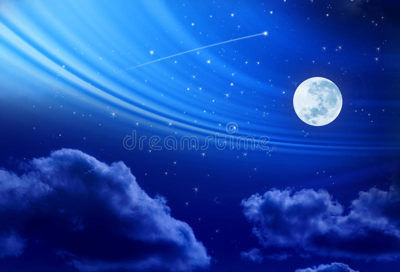 Download Full Moon Night Sky Stars stock image. Image of space - 19052281