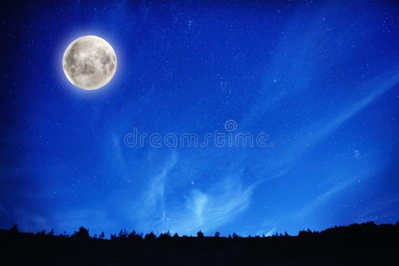 Full moon on night sky with stars royalty free stock photos