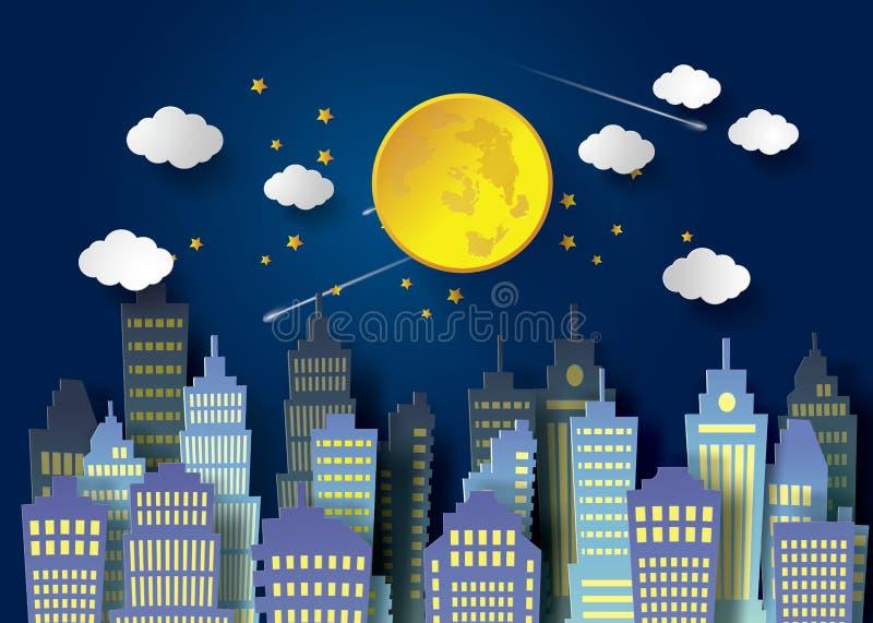 Full Moon And Night Sky. Full moon night and urban royalty free illustration