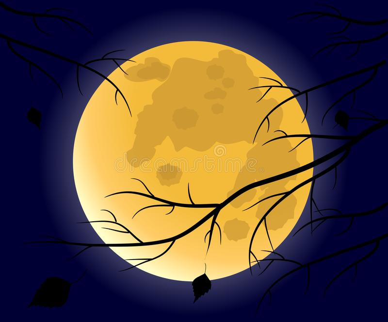 Full moon in the night sky. And withered tree branches, vector illustration stock illustration