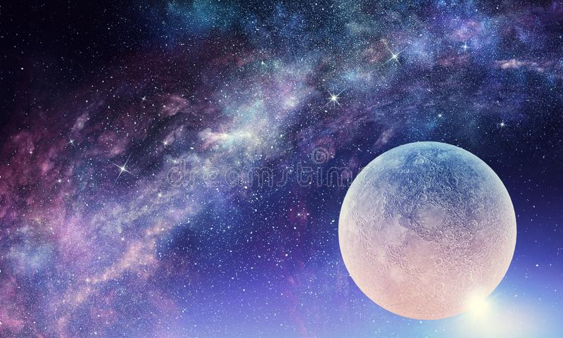 Full moon in night starry sky. Background fantasy image with full moon in night glowing sky vector illustration