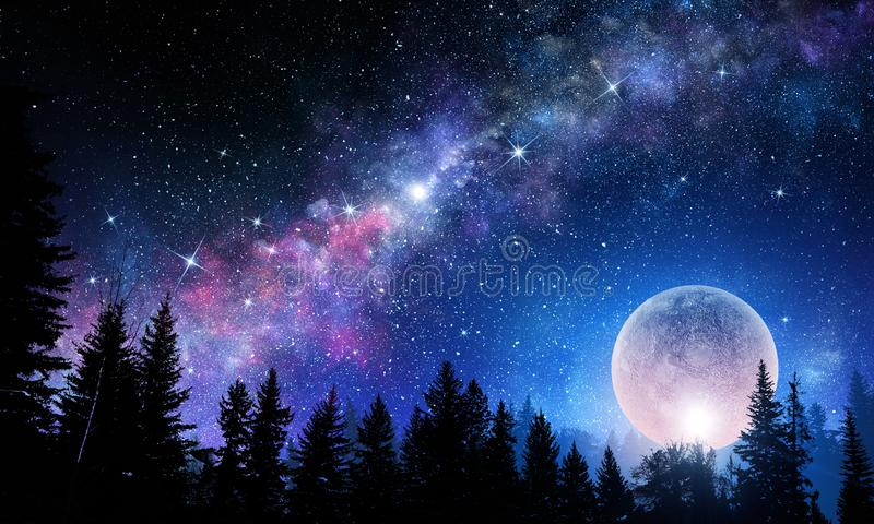 Full moon in night starry sky. Background fantasy image with full moon in night glowing sky stock illustration