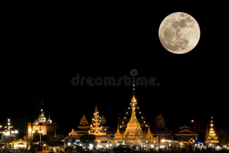 Full moon in night time fo Wat Jong Kham and Jong Klang at Mae Hong Son province, Thailand royalty free stock photography