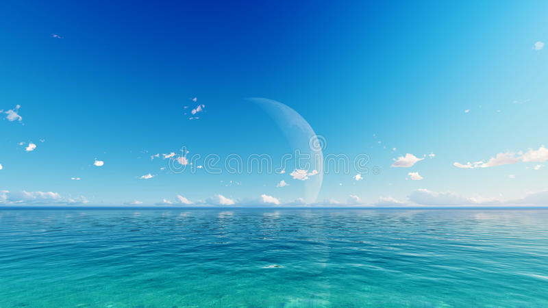 Full moon over blue sea and sky stock photography