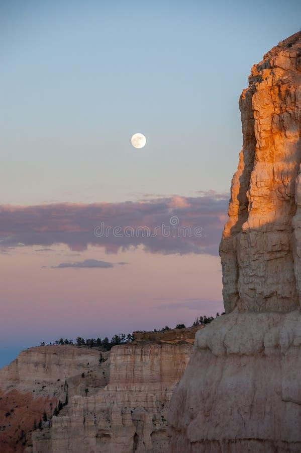 Full moon over Bryce Canyon National Park, Utah stock image