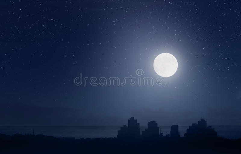 Download Full moon over the city stock illustration. Image of full - 23773406