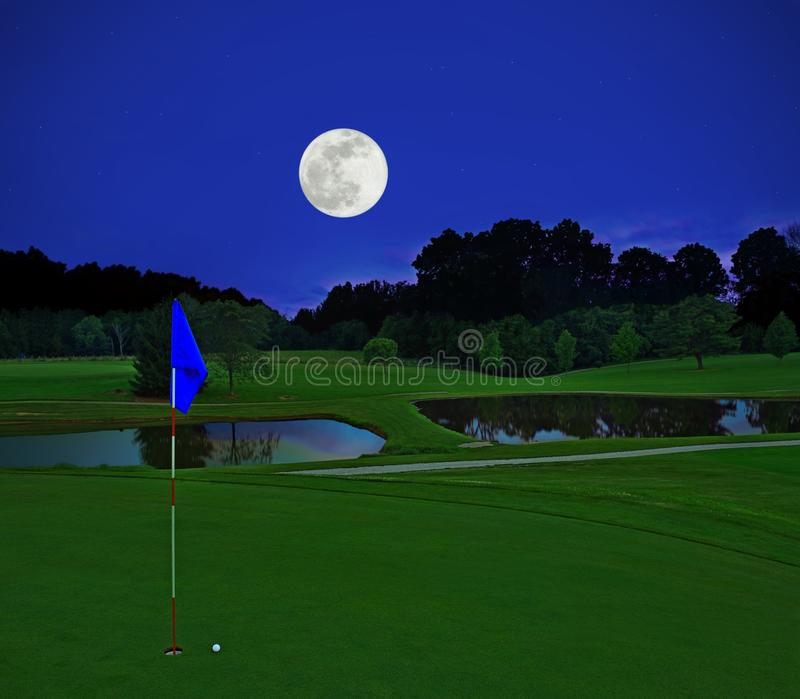 Full Moon over a Country Golf Course royalty free stock photography