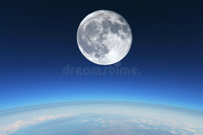 Download Full Moon Over Earth's Stratosphere Stock Photo - Image of astrology, dark: 2041408