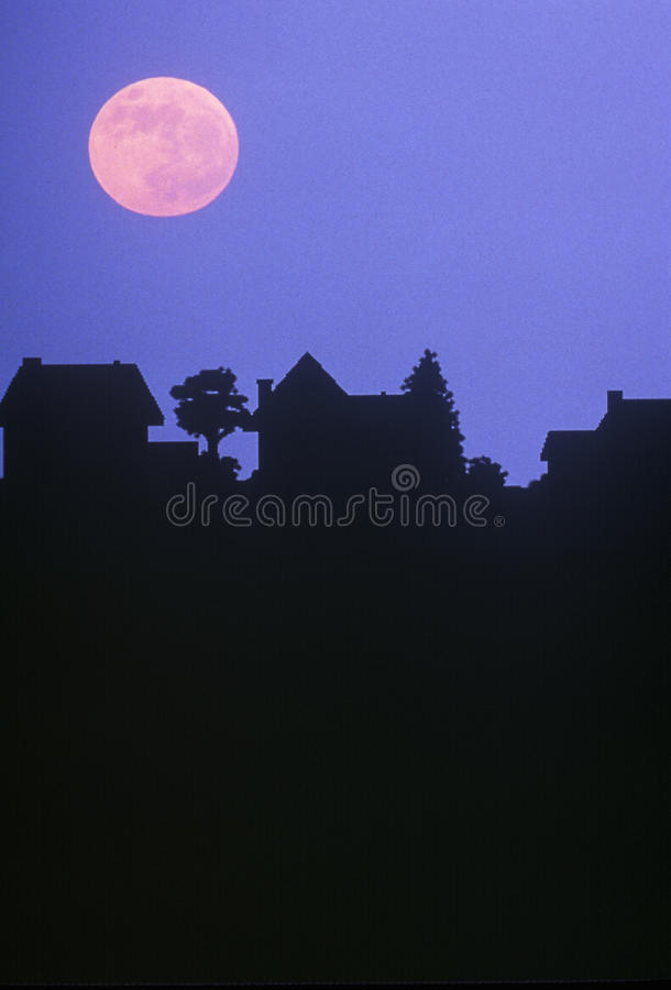 Download Full Moon Over Family Homes Stock Photo - Image: 23179336